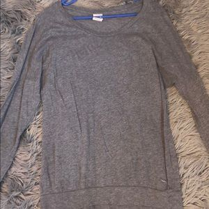 PINK by Victoria's Secret Long-Sleeved Gray Tee